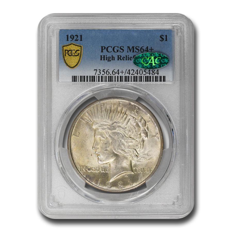 1921 Peace Dollar MS-64+ Plus PCGS - CAC