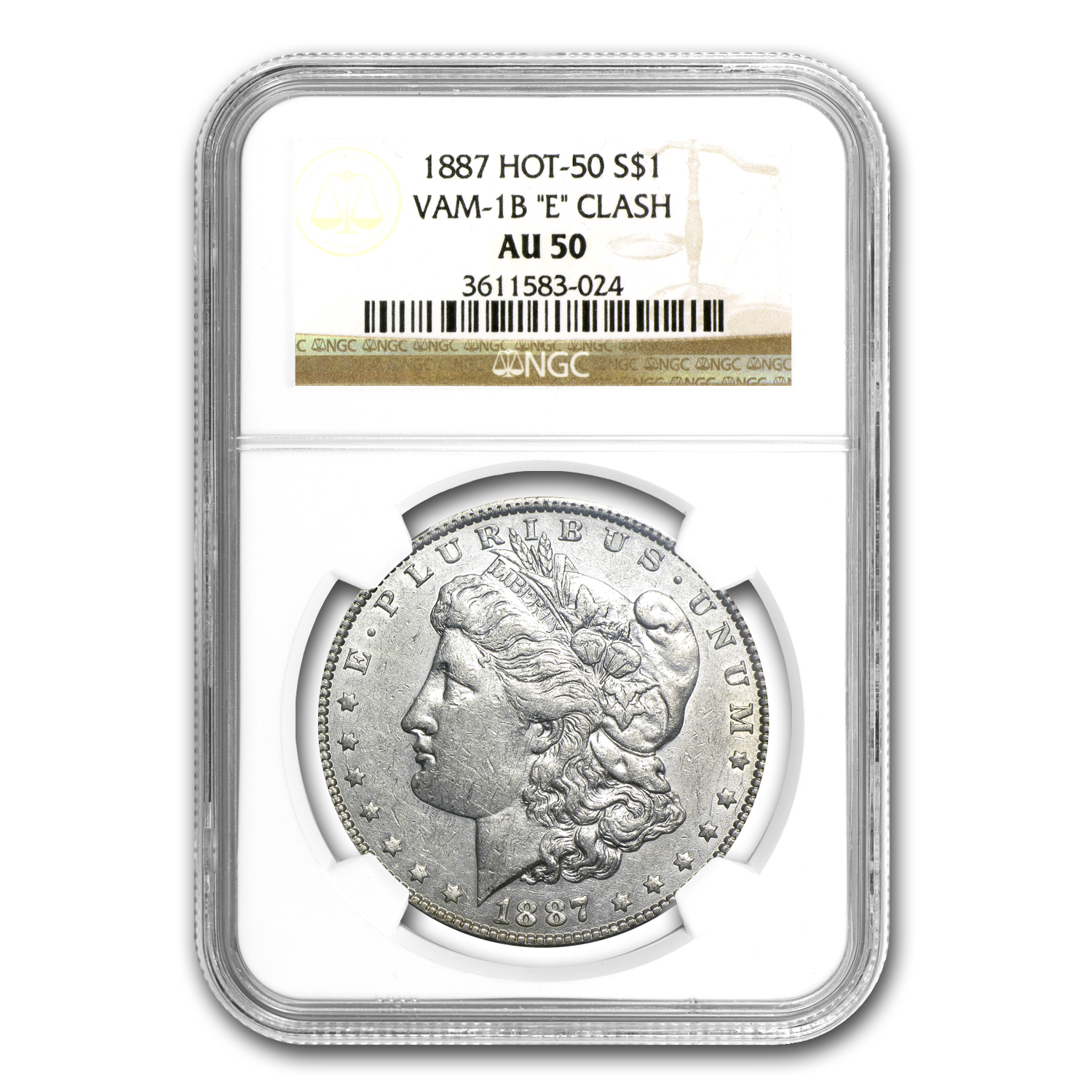 1887 Morgan Dollar AU-50 NGC (VAM-1B, Partial E Rev, Hot-50)