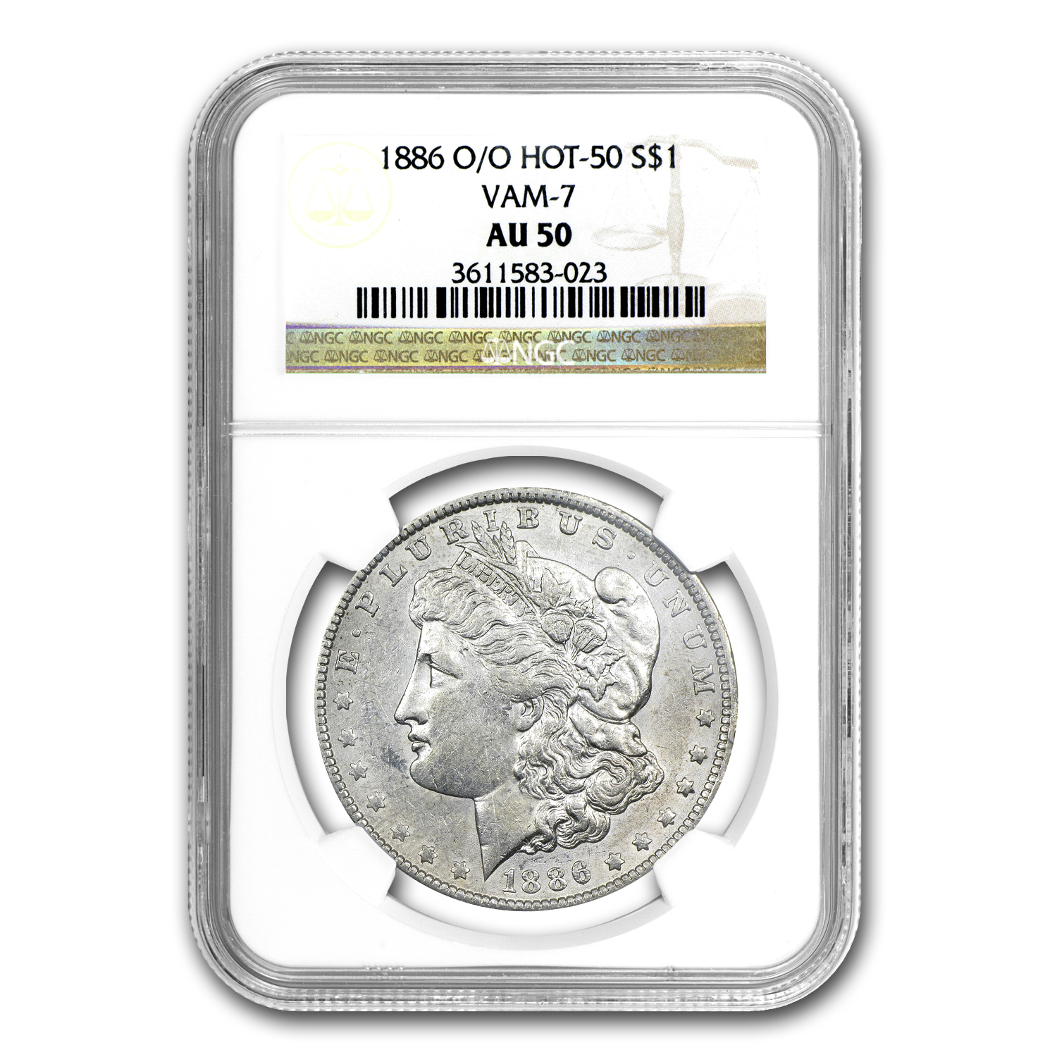 1886-O/O Morgan Dollar AU-50 NGC - VAM-7 Hot-50