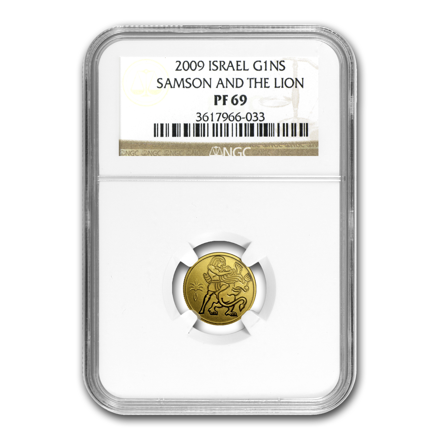 2009 Israel 1/25 oz Proof Gold Samson and the Lion PF-69 NGC