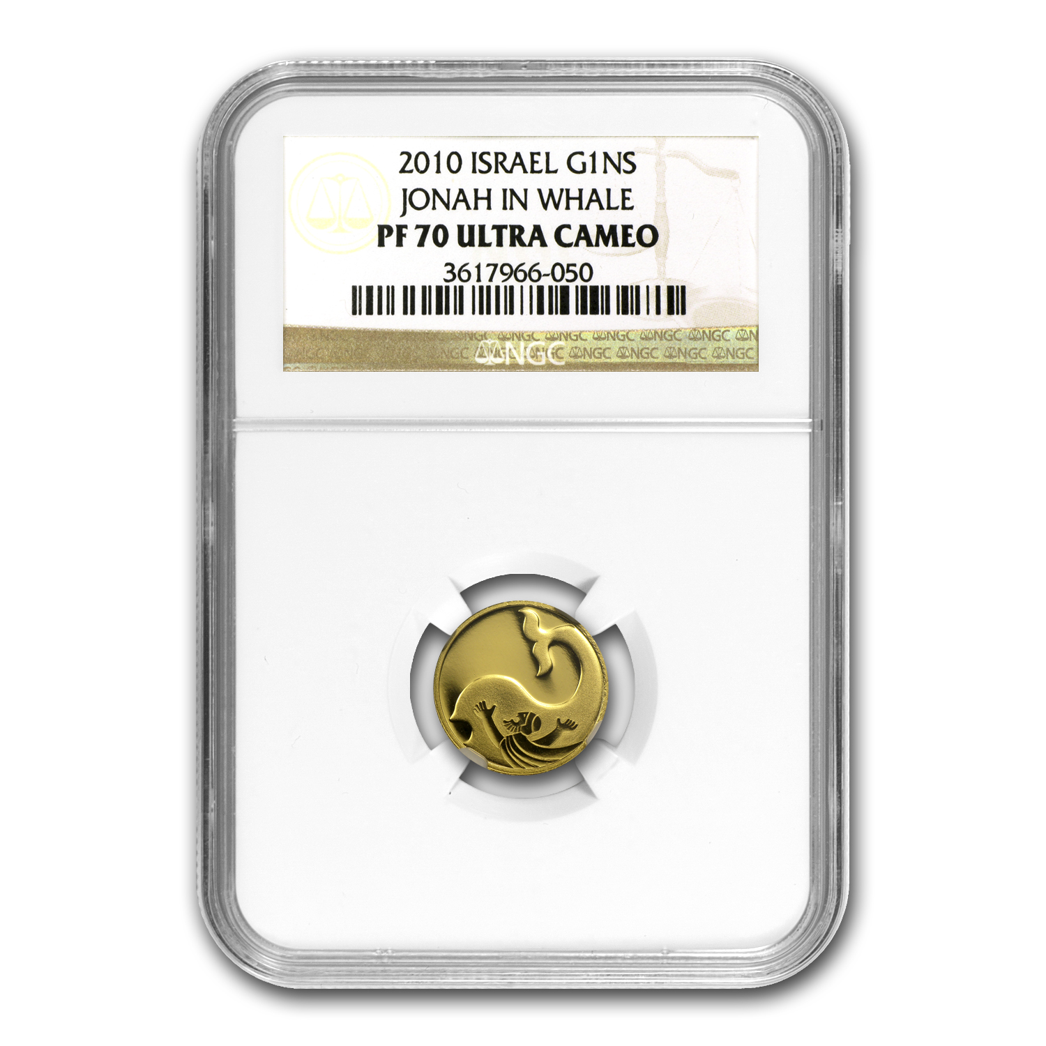2010 Israel Jonah in the Whale Smallest Gold Coin PF-70 NGC