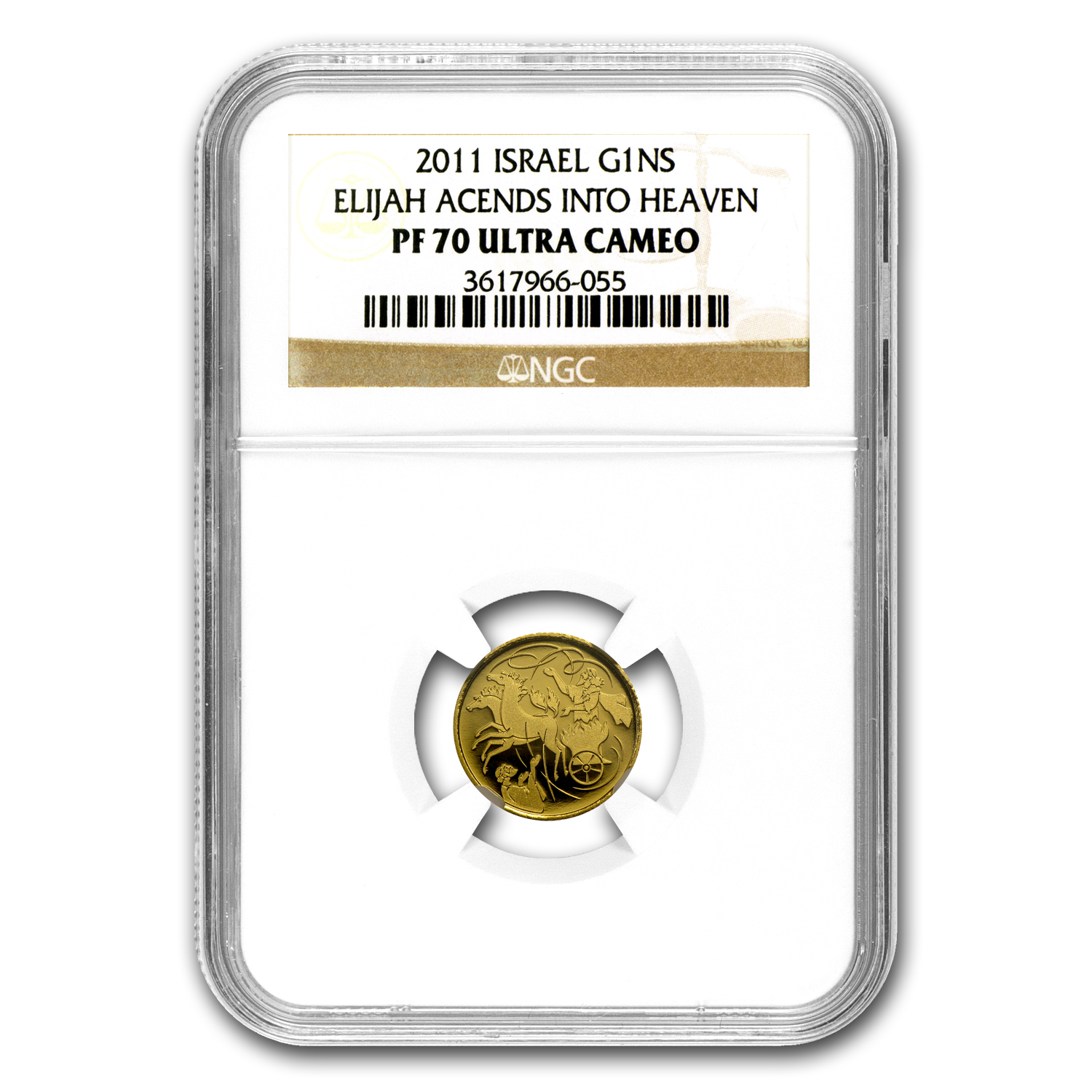 2011 Israel Elijah & Whirlwind Smallest Gold Coin PF-70 UCAM NGC