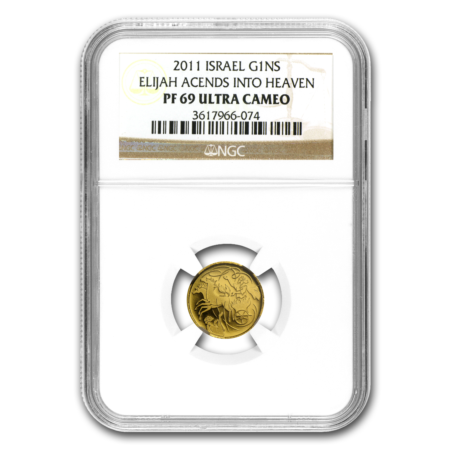 2011 Israel Elijah & Whirlwind Smallest Gold Coin PF-69 NGC