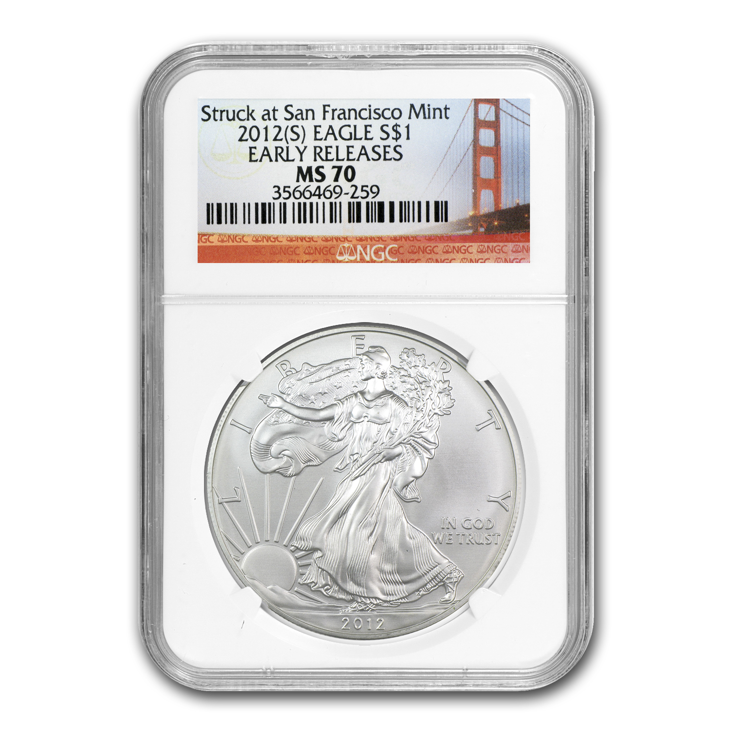 2012 (S) Silver Eagle MS-70 NGC (ER, Golden Gate Bridge)