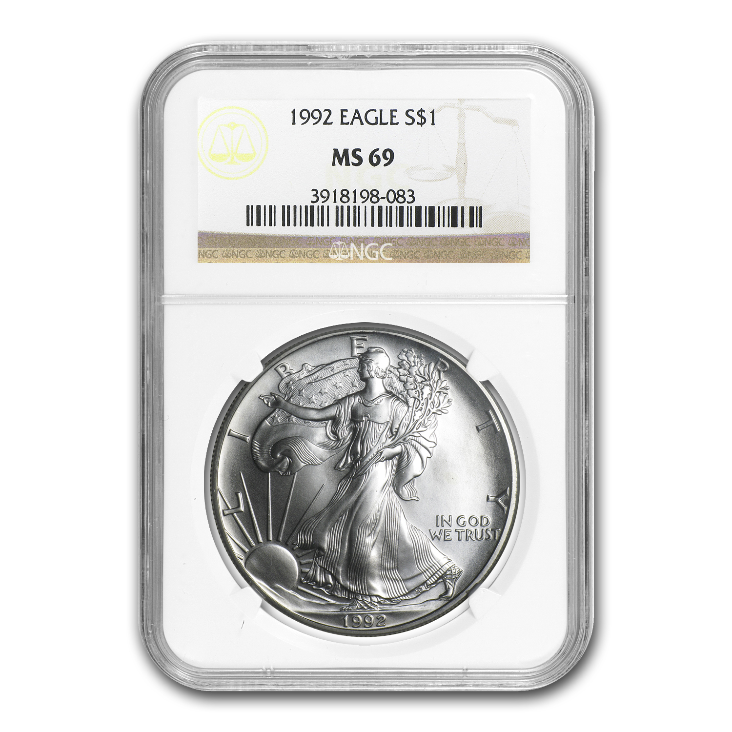1992 Silver American Eagle - MS-69 NGC