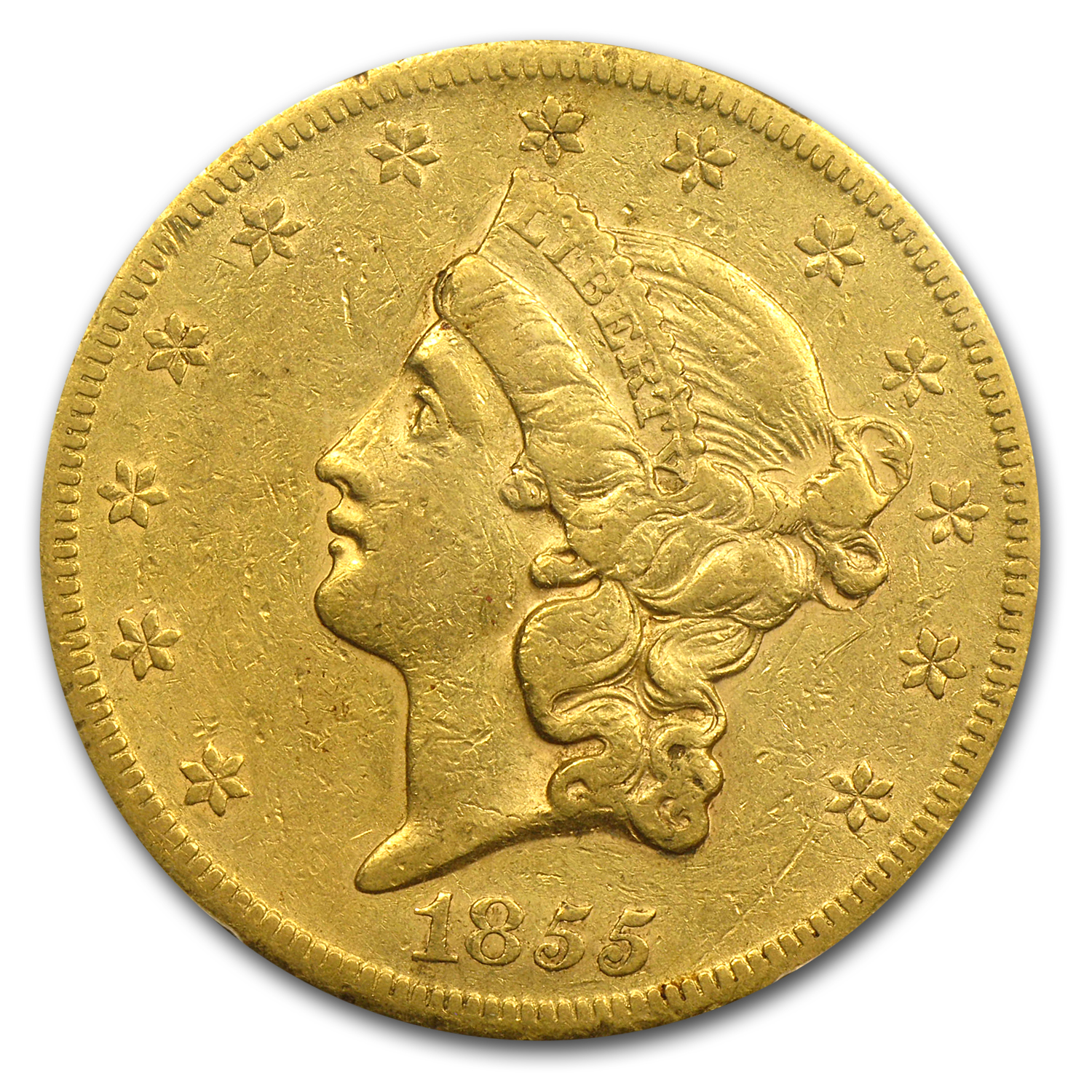 1855-S $20 Liberty Gold Double Eagle XF-40 PCGS