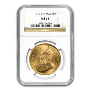 1970 South Africa 1 oz Gold Krugerrand MS-64 NGC