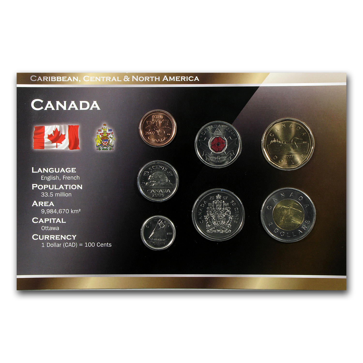 2006-2012 Canada 1 Cent-2 Dollar 7-Coin Set Unc