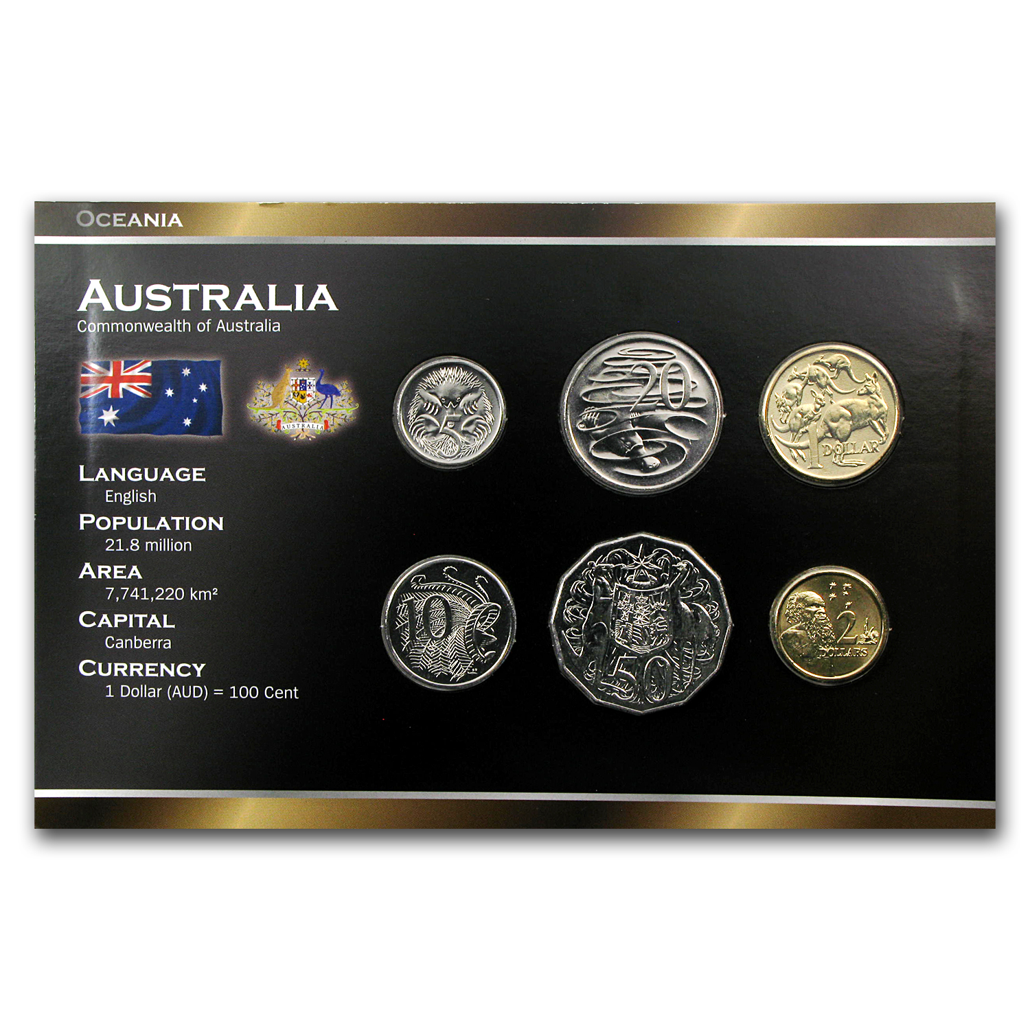 Australia 6-Coin Set 5 Cents - 2 Dollars BU
