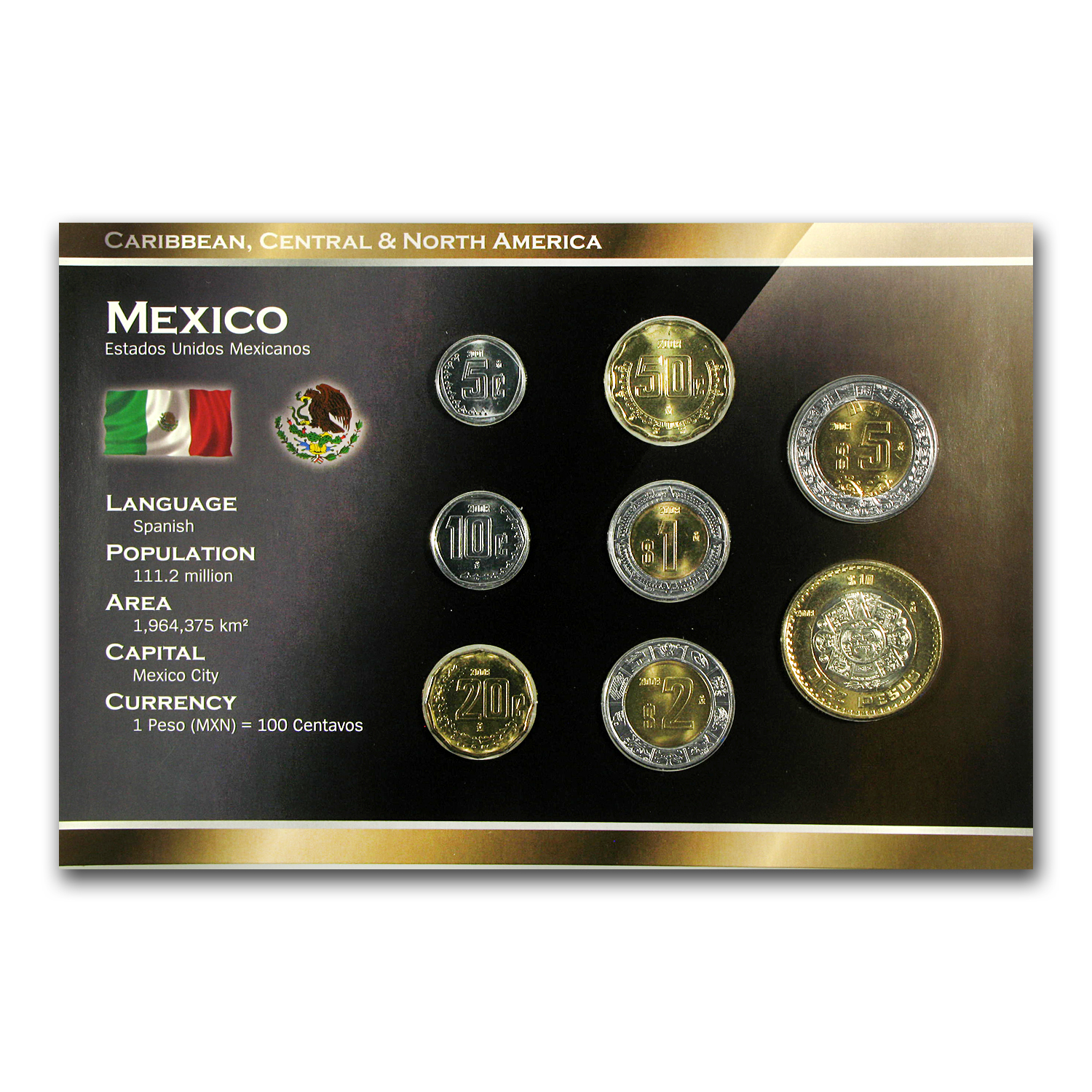 Mexico 1998-2009 5 Centavo-10 Pesos Coin Set Unc