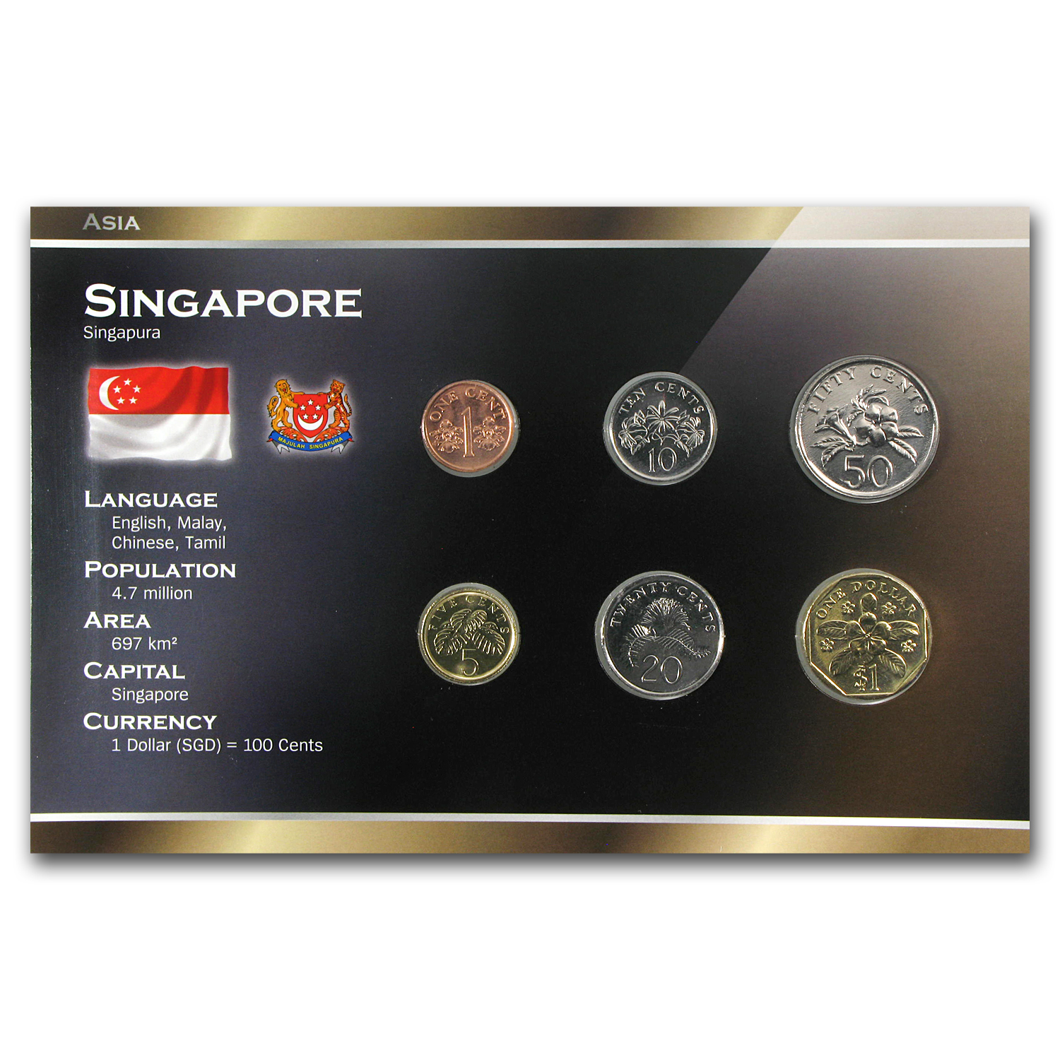 1986-2010 Singapore 1 Cent-1 Dollar Unc Coin Set