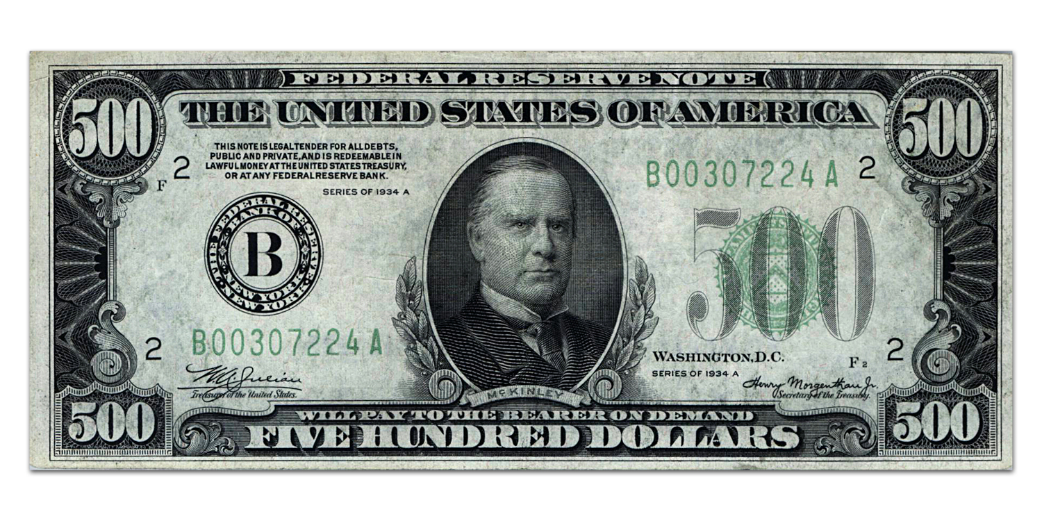 1934-A (B-New York) $500 FRN XF+