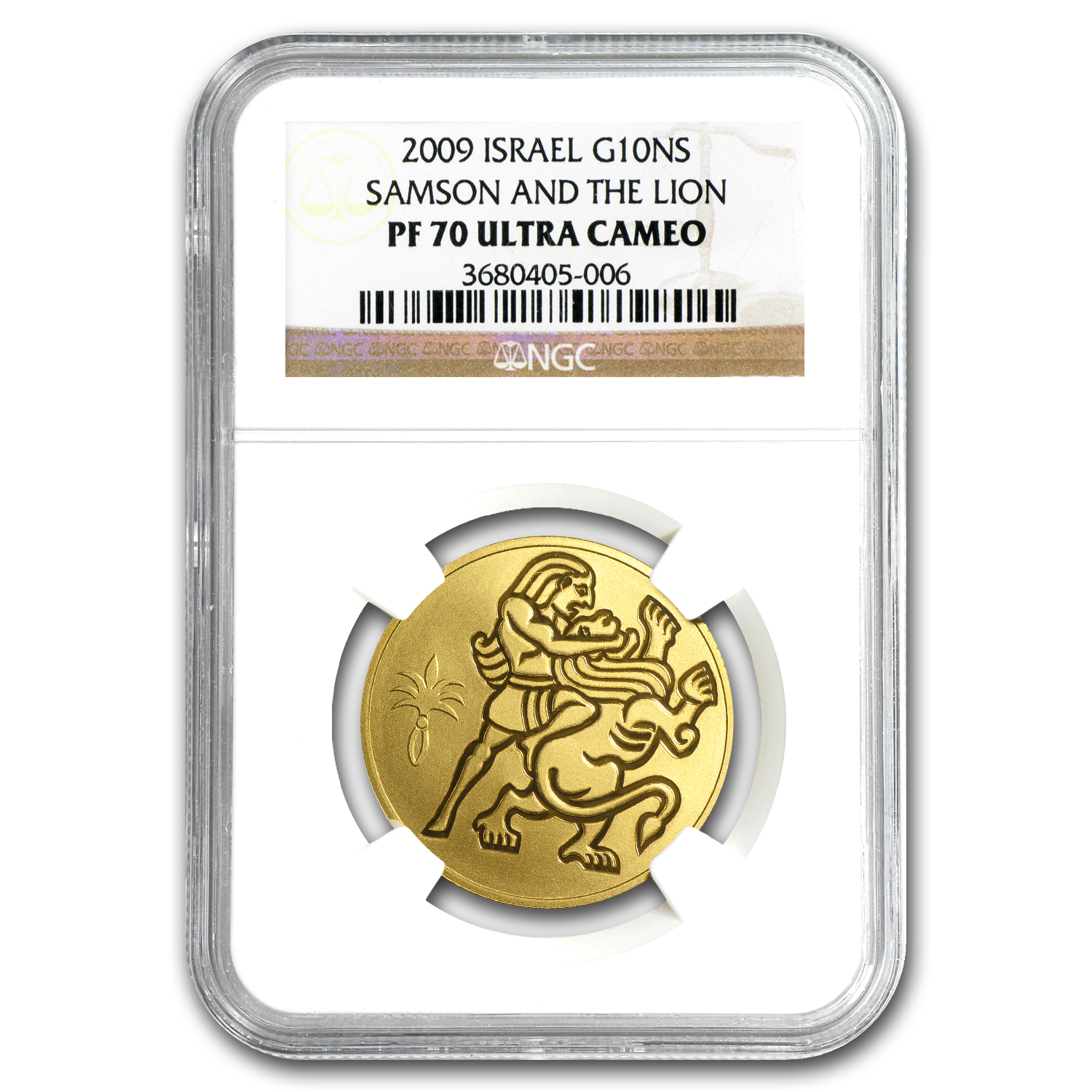 2009 Israel 1/2 oz Proof Gold Samson and the Lion PF-70 NGC