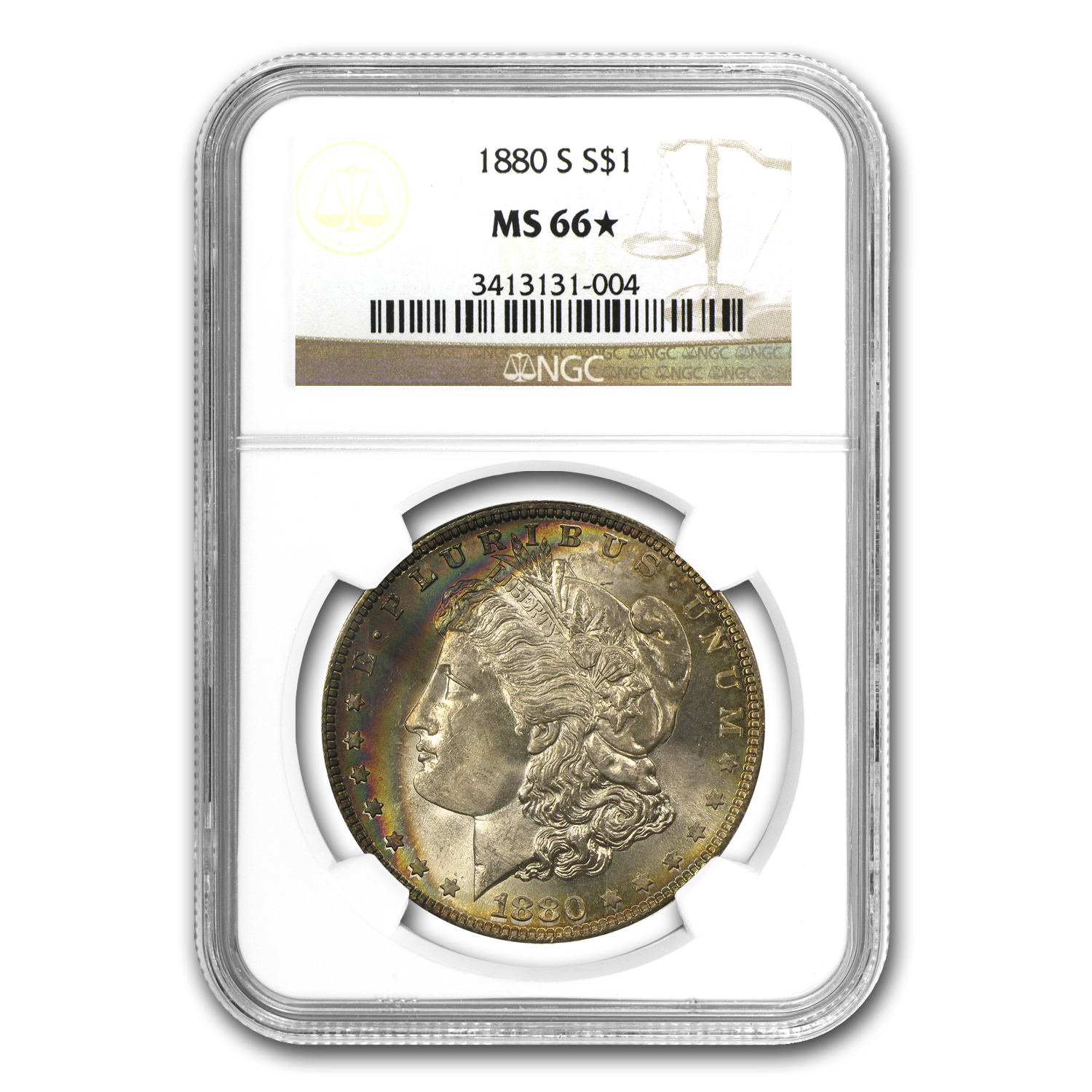 1880-S Morgan Dollar MS-66* Star NGC (Crescent Obv Toning)