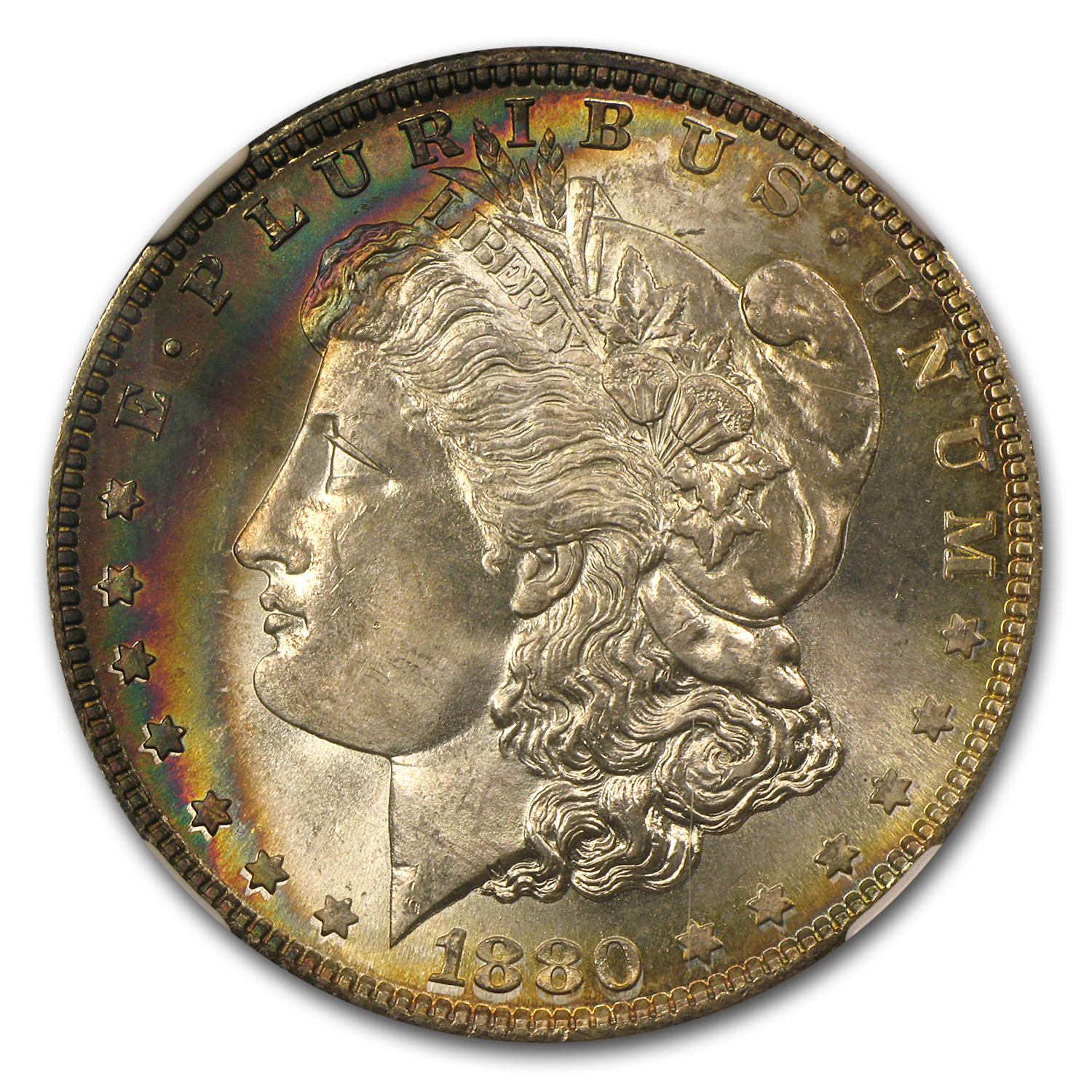 1880-S Morgan Dollar - MS-66* Star NGC - Crescent Obverse Toning