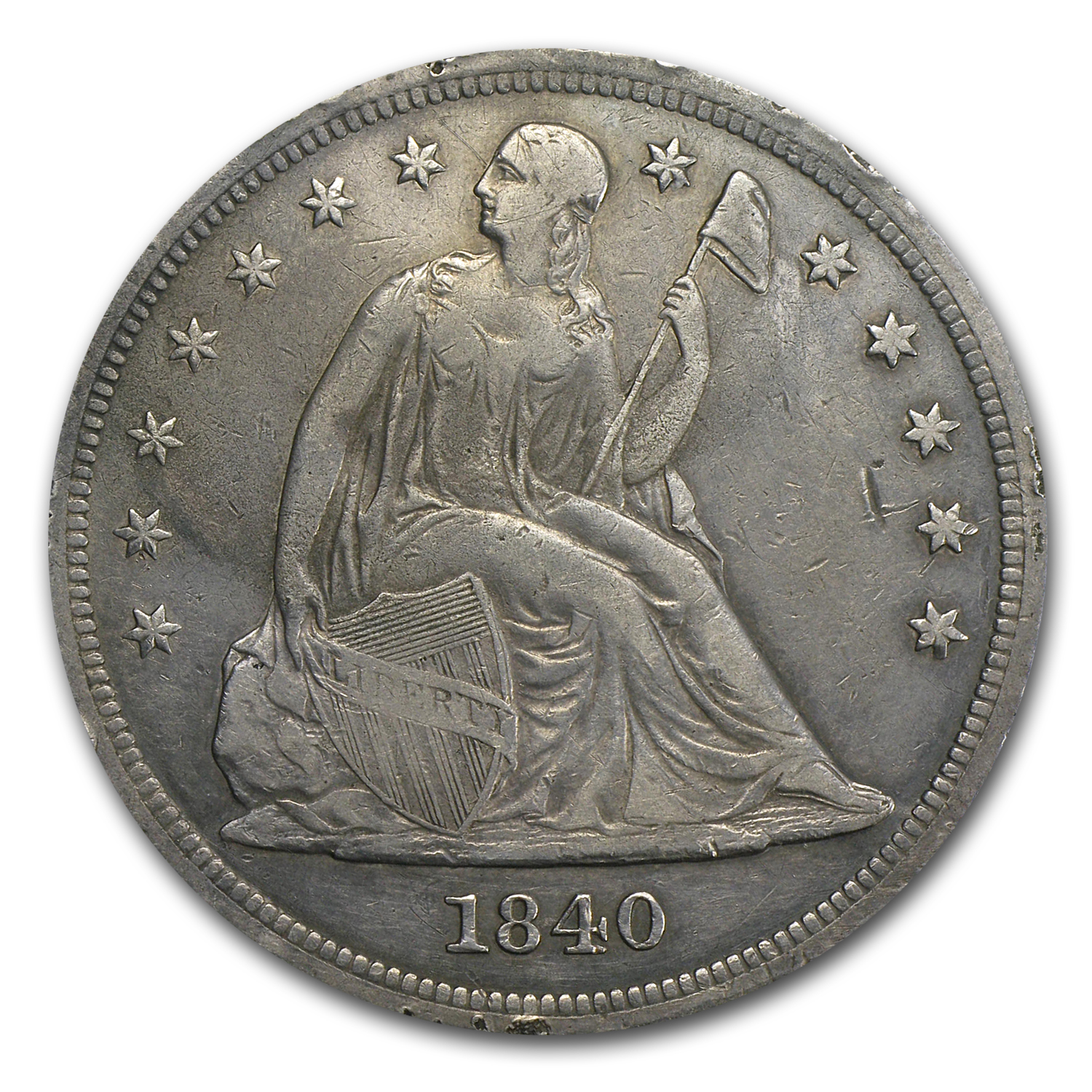 1840 Liberty Seated Dollar XF