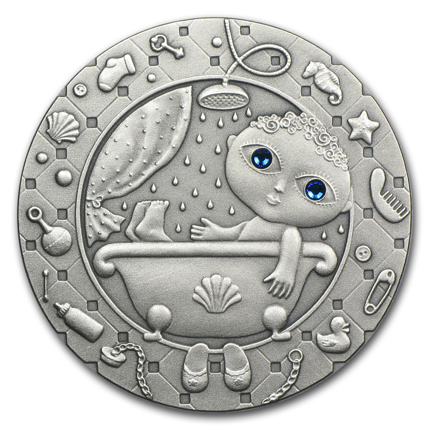 2009 Belarus Oxidized Silver 20 Rubles Zodiac Signs Aquarius