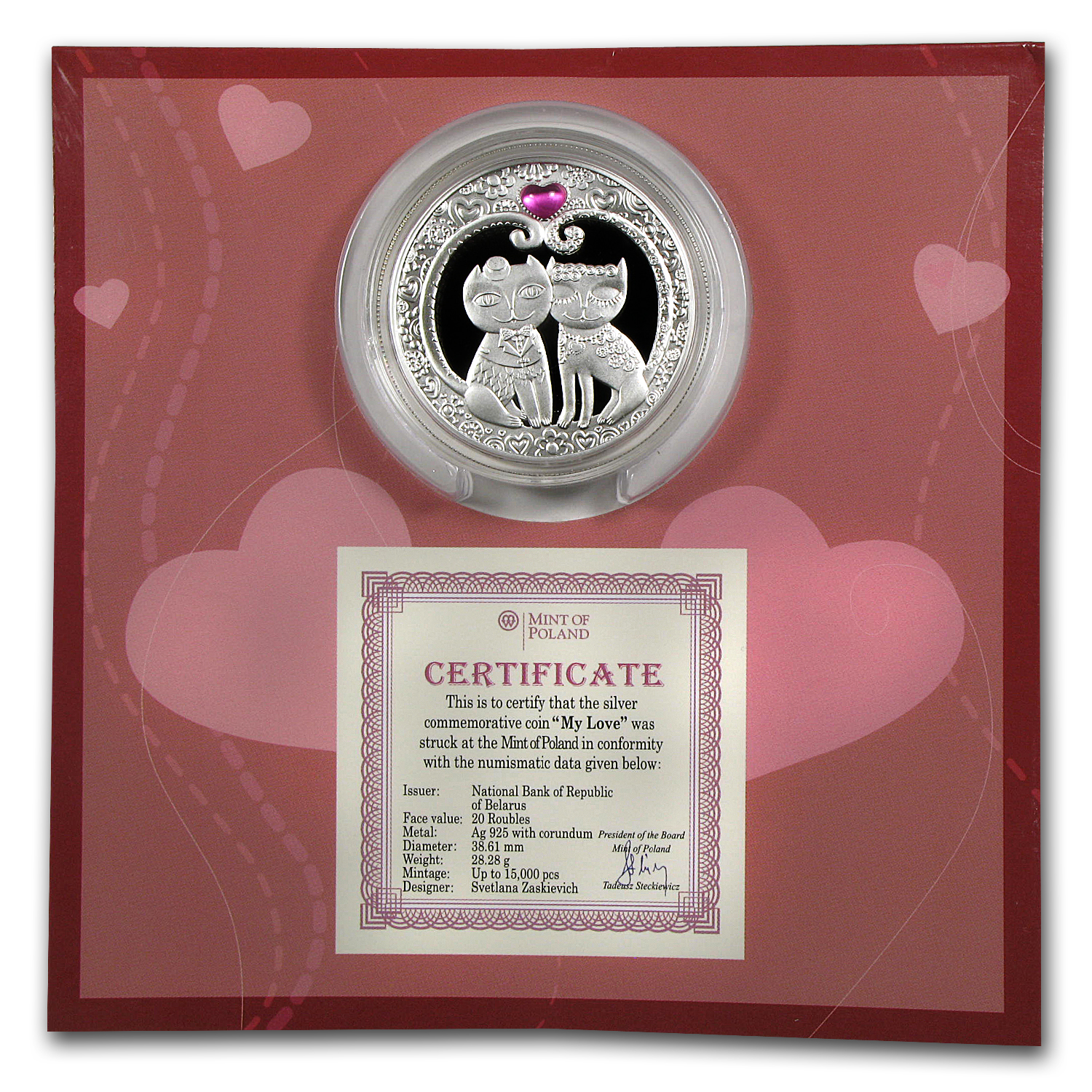 2011 Belarus Silver Proof 20 Rubles My Love