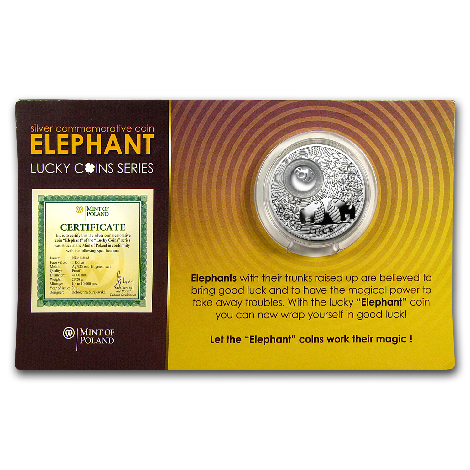 2011 Niue Proof Silver $1 Lucky Coins Series Elephant