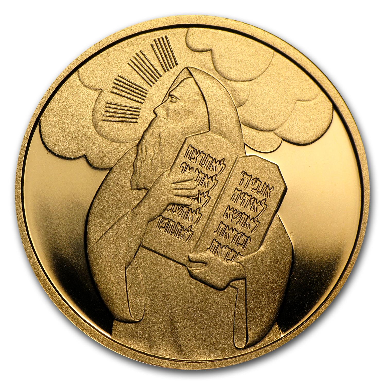 2005 Israel 1 2 Oz Prf Gold Moses Amp Ten Commandments Box