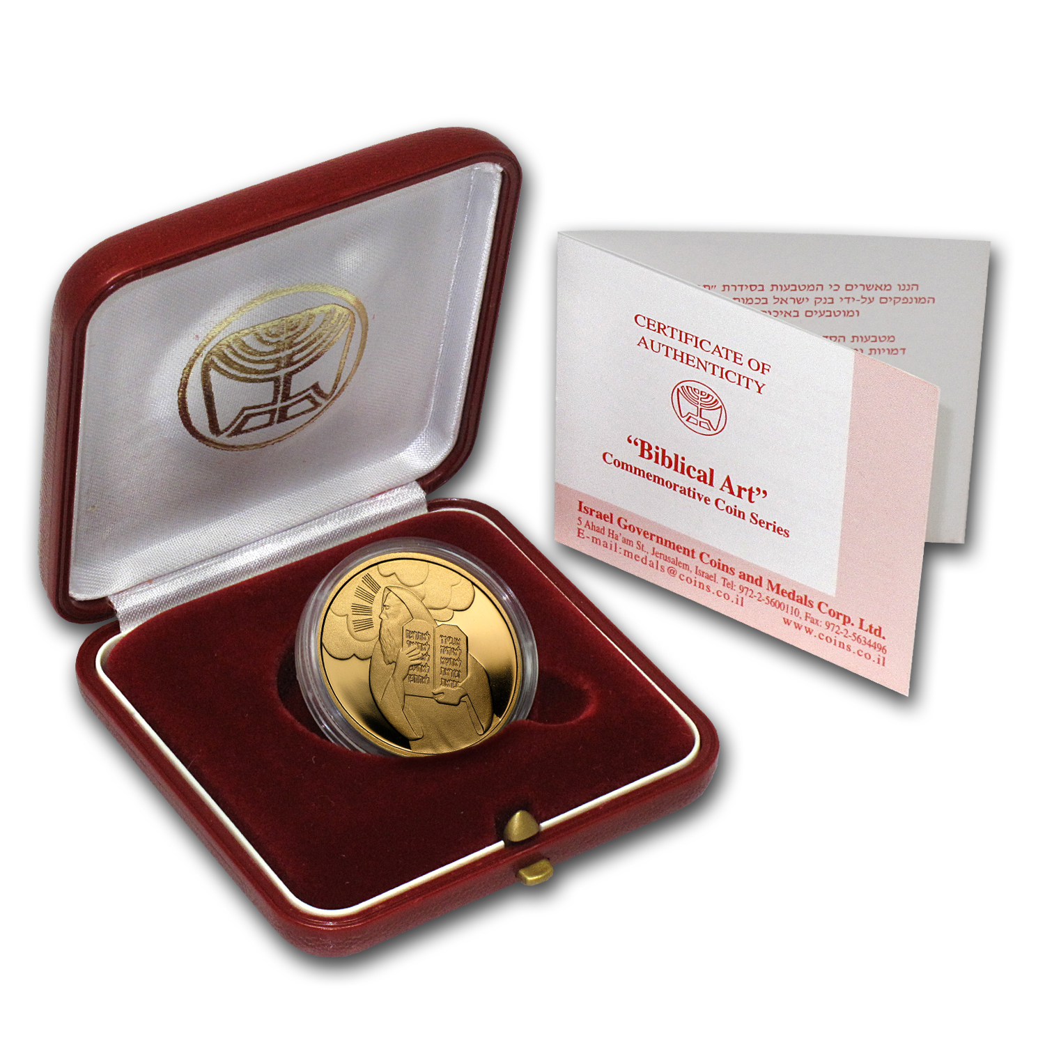 2005 Israel 1/2 oz Prf Gold Moses & Ten Commandments (Box & COA)