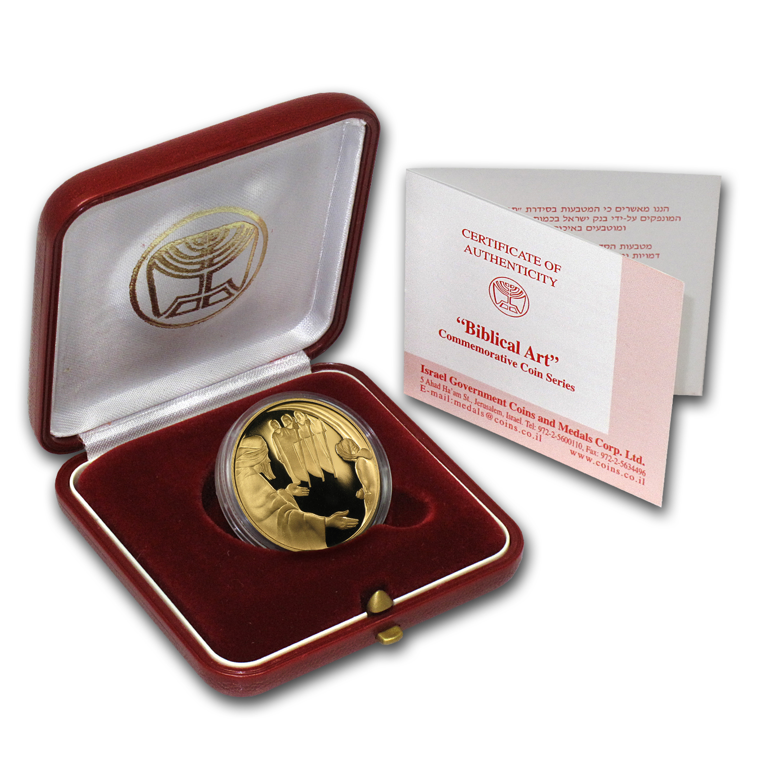 2006 Israel Abraham and the Angels 1/2 oz Proof Gold w/ box & coa