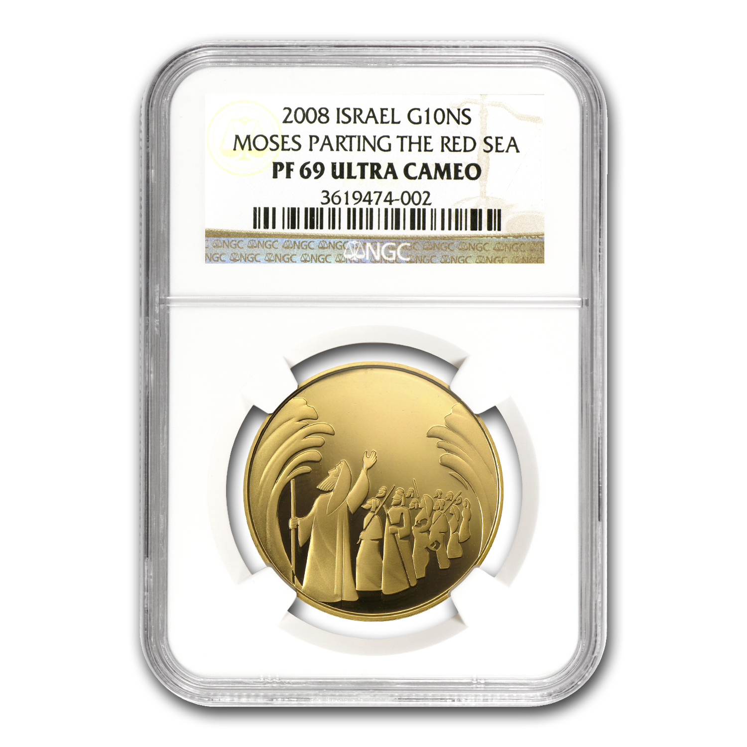 2008 Israel 1/2 oz Proof Gold Parting of the Sea PF-69 NGC