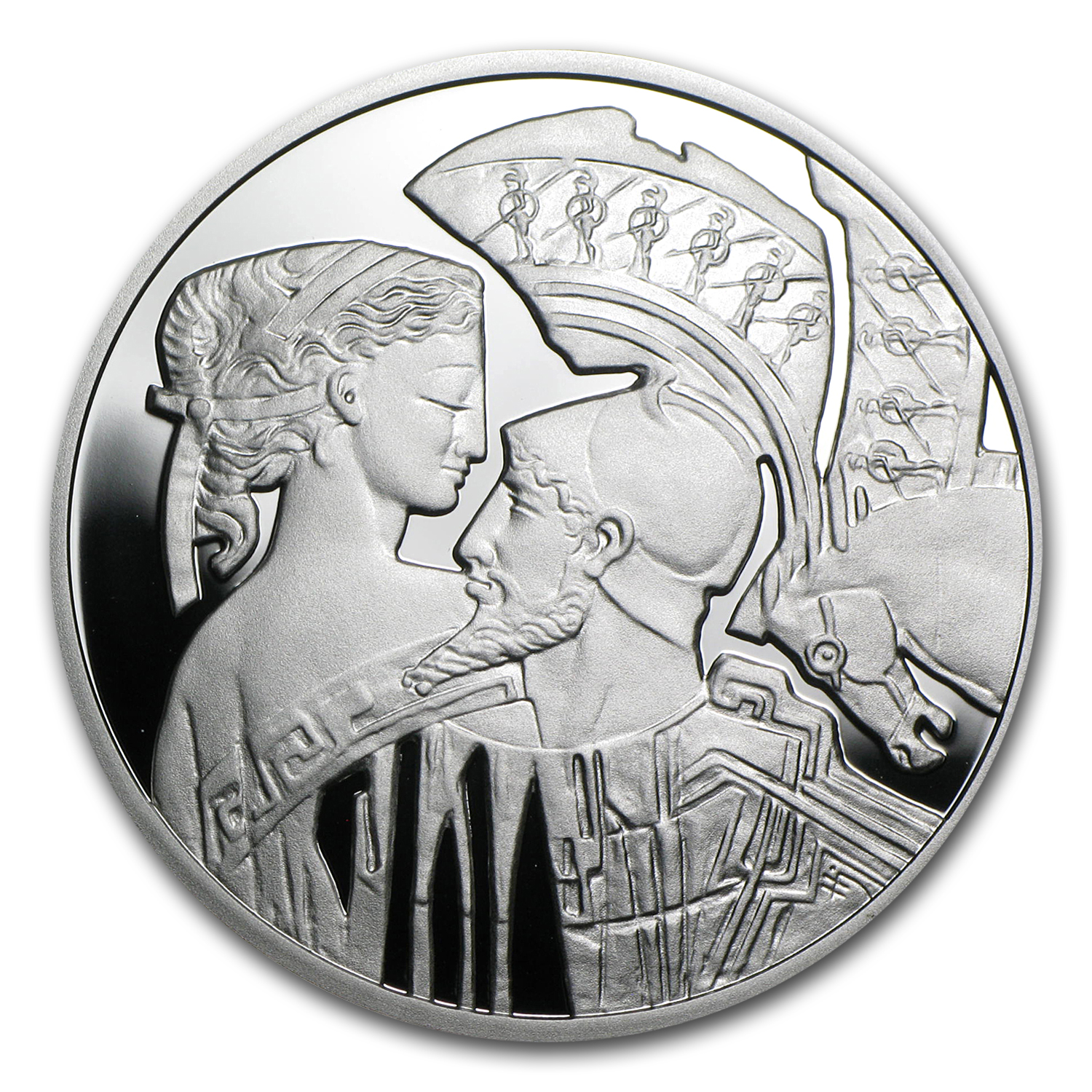 2010 Niue Proof Silver $1 Famous Love Stories Paris and Helen