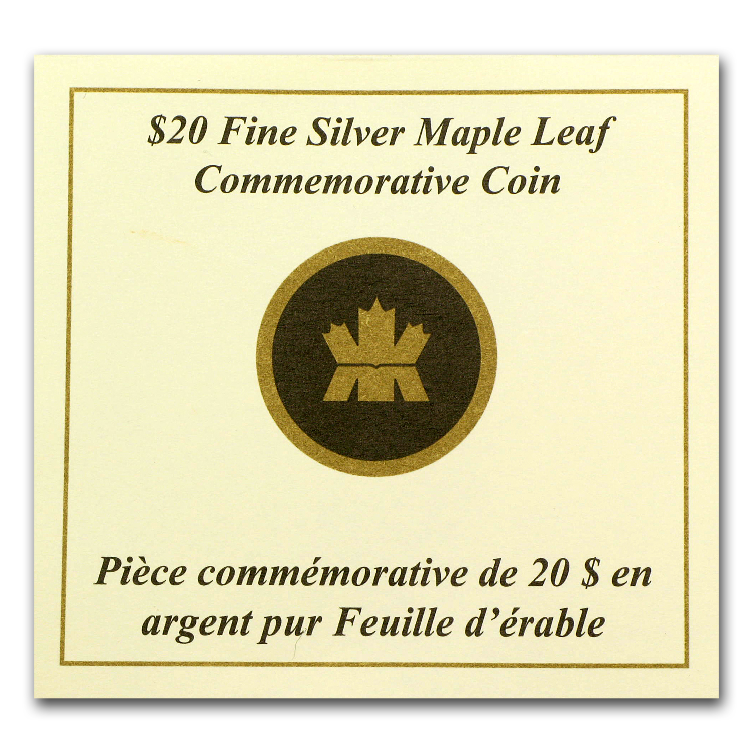 2011 1/4 oz Silver Canadian $20 Maple Leaf Commem (w/COA)
