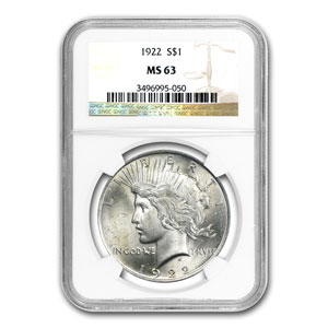 1922-1925 Peace Silver Dollar Date Set - 4 Coins - MS-63 NGC