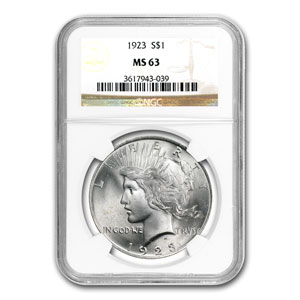 1922-1925 4-Coin Peace Dollar Set MS-63 NGC
