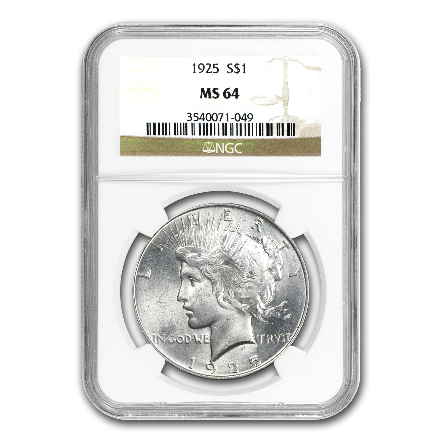 1922-1925 Peace Dollar Set MS-64 NGC (4 Coins)