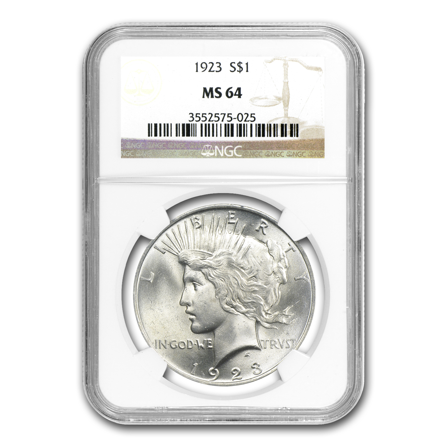 1922-1925 4-Coin Peace Dollar Set MS-64 NGC