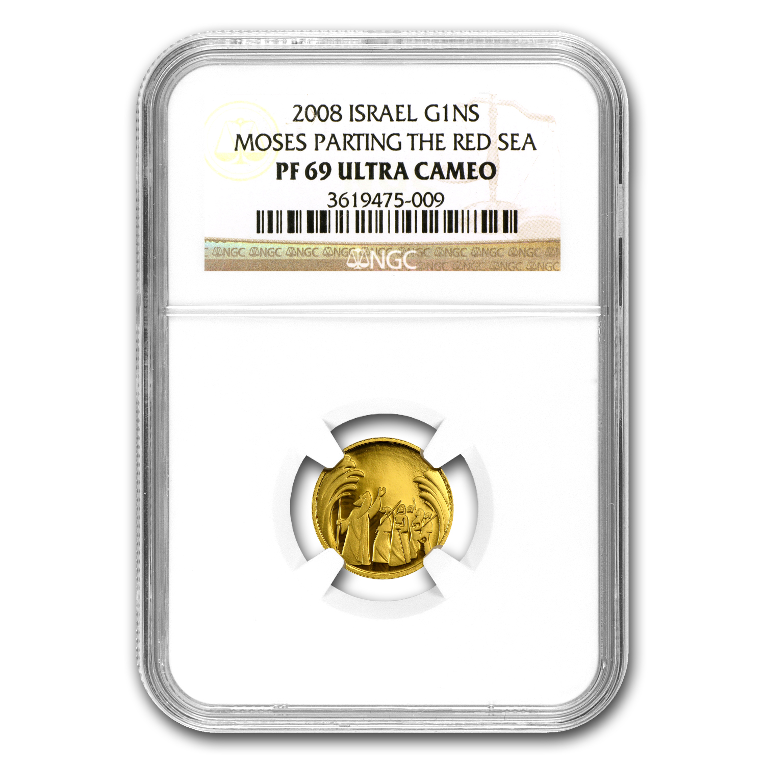 2008 Israel Parting of the Sea Smallest Gold Coin PF-69 UCAM NGC