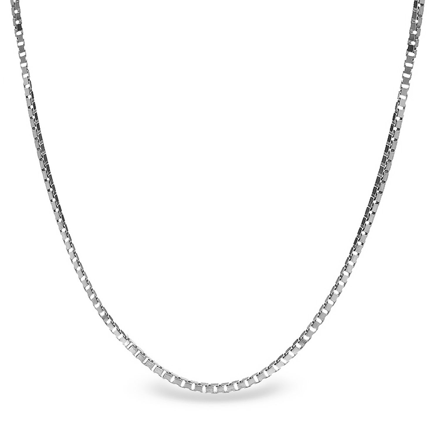 Box Chain Sterling Silver Necklace 24 In Silver