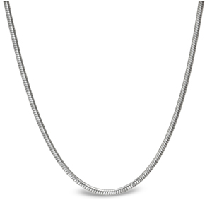 Classic Round Snake Sterling Silver Necklace - 24 in.