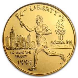 1995-W Gold $5 Commem Olympic Torch Runner MS-70 PCGS