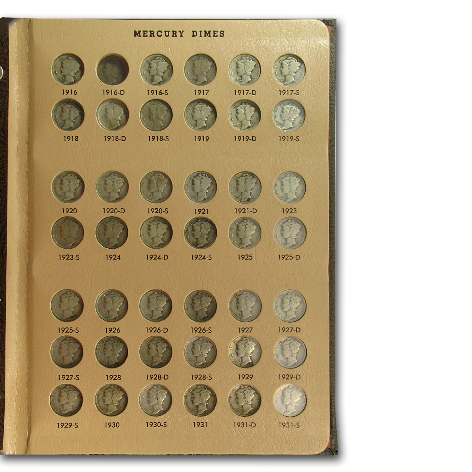 1916-1945 Near Complete Mercury Dime Set In Dansco Album