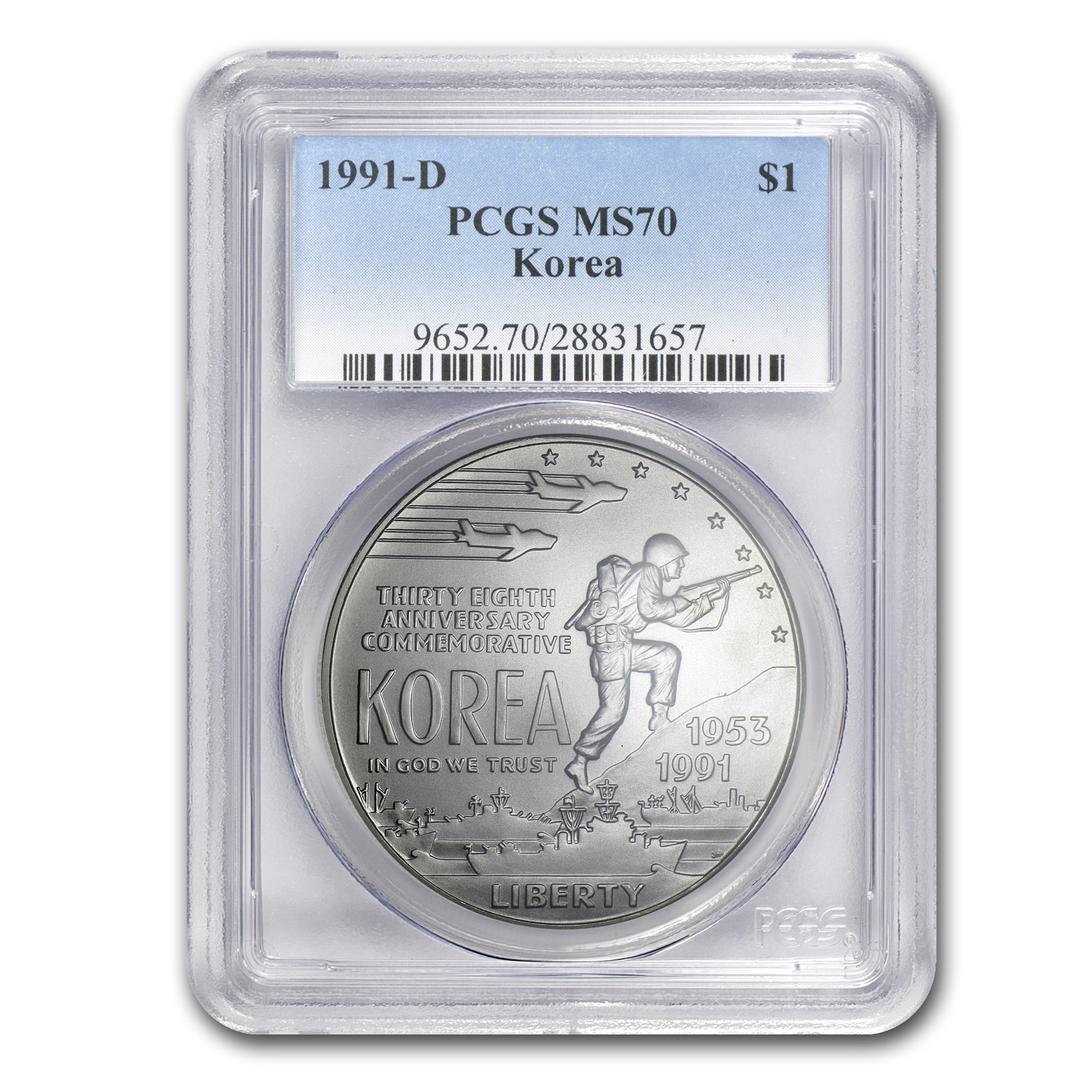 1991-D Korean War $1 Silver Commemorative MS-70 PCGS