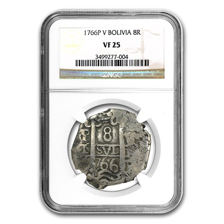 1766 Bolivia Silver Cob 8 Reales Vf 25 Ngc Silver Coins
