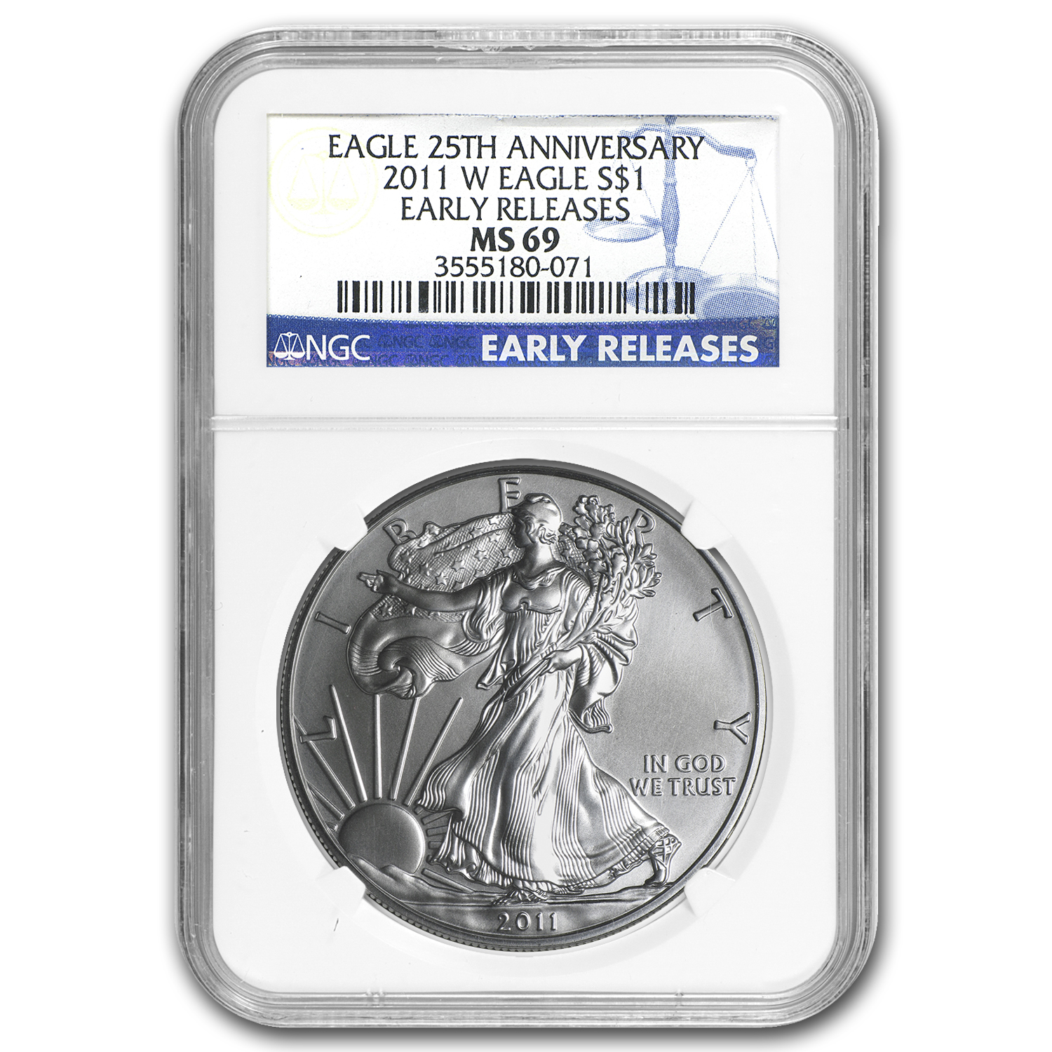 2011-W Burnished Silver Eagle MS-69 NGC (ER, 25th Ann, Blue Lbl)