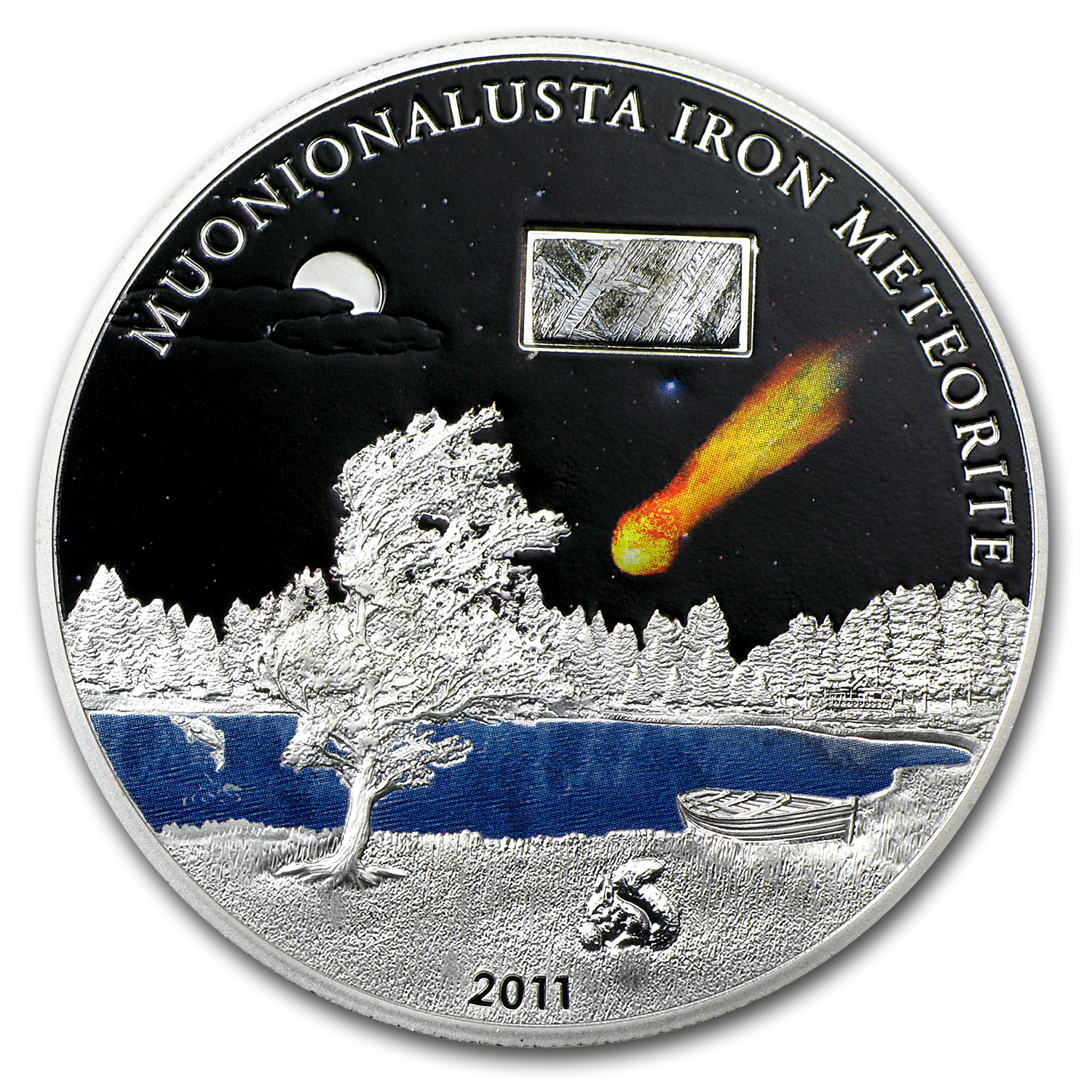 2011 Cook Islands Proof Silver $5 Muonionalusta Iron Meteorite
