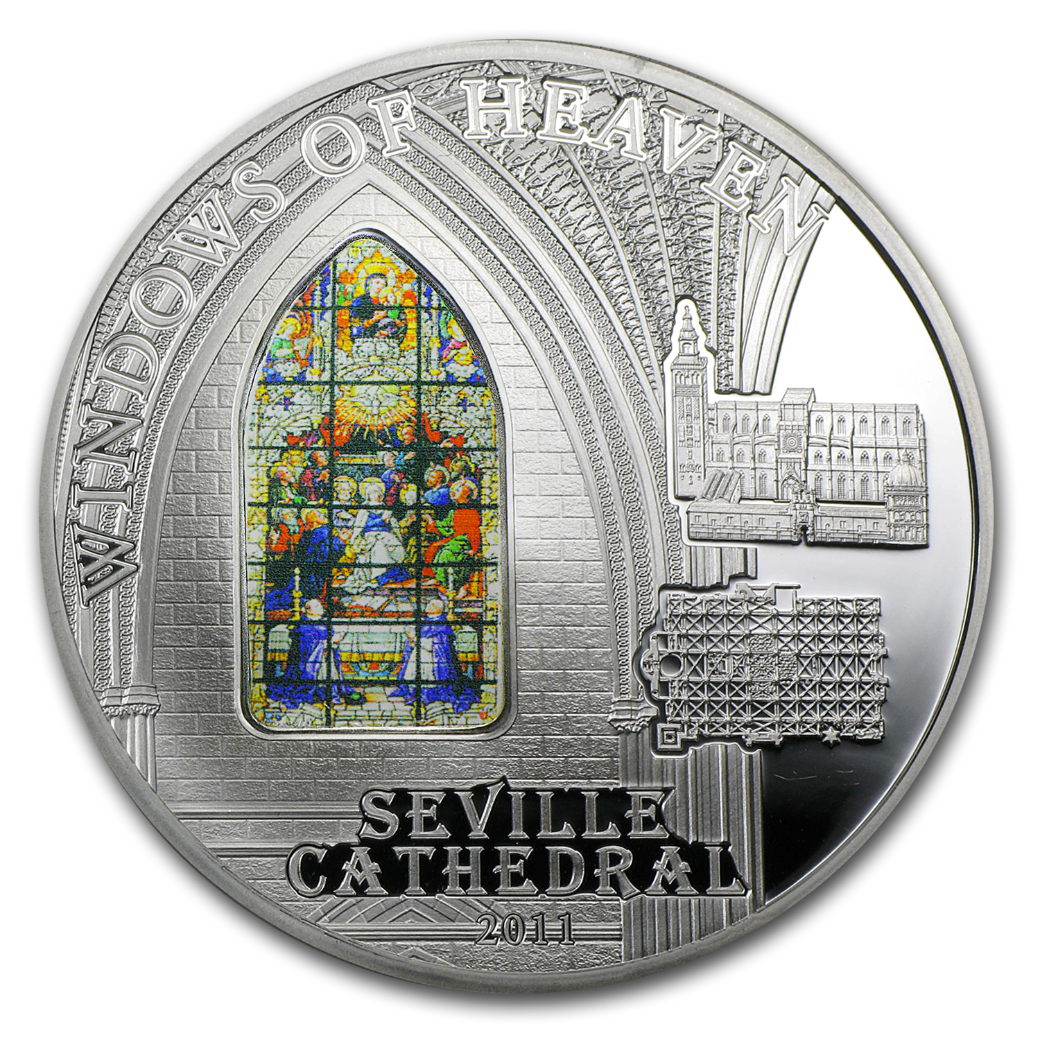 2011 Cook Islands Silver $10 Windows of Heaven Seville Cathedral