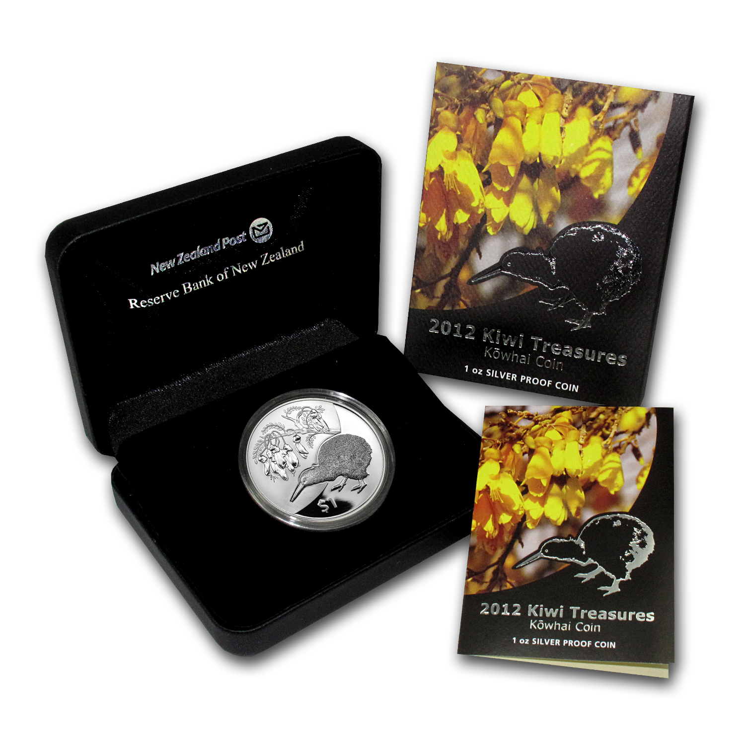 2012 New Zealand 1 oz Silver Treasures $1 Kiwi-Kowhai Proof