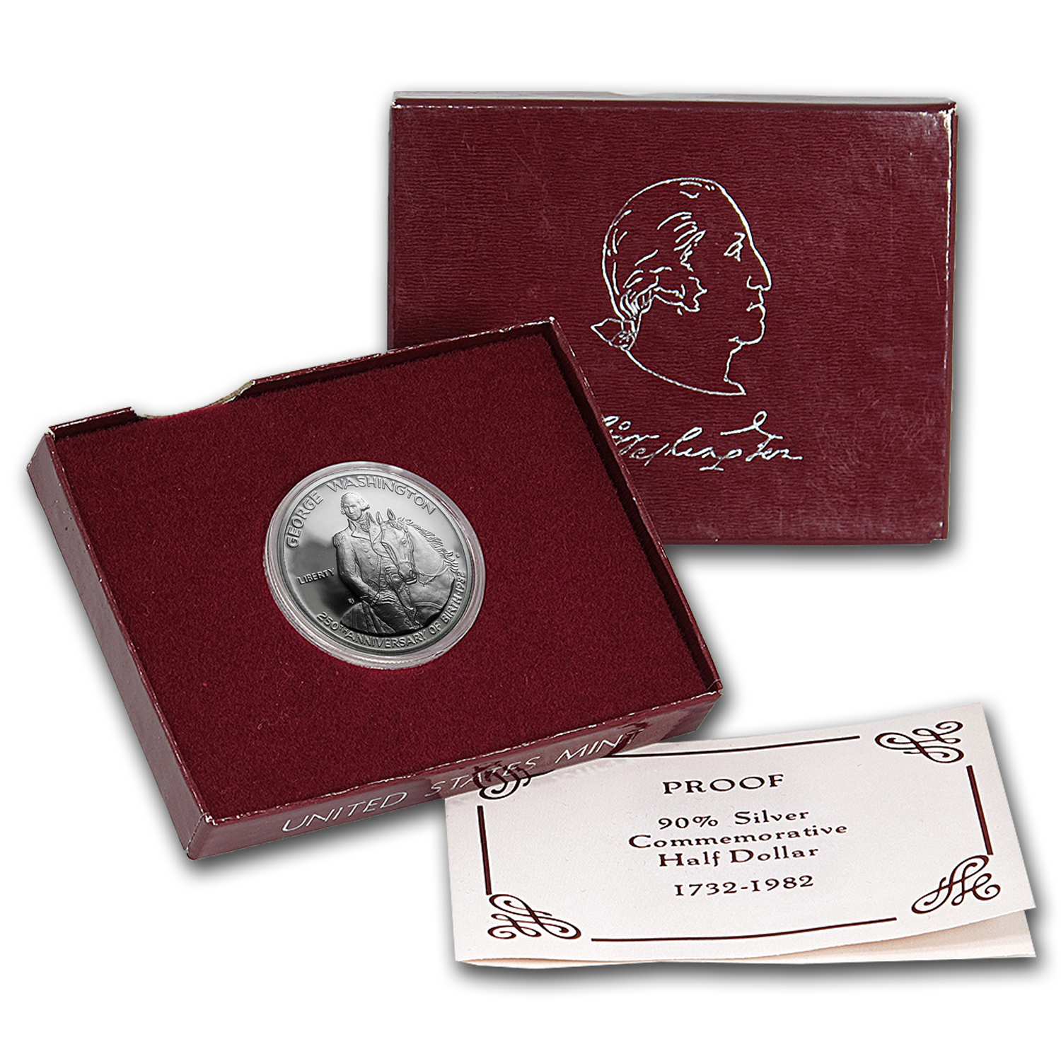 1982-D George Washington 1/2 Dollar Silver Commem (W/ Box & COA)