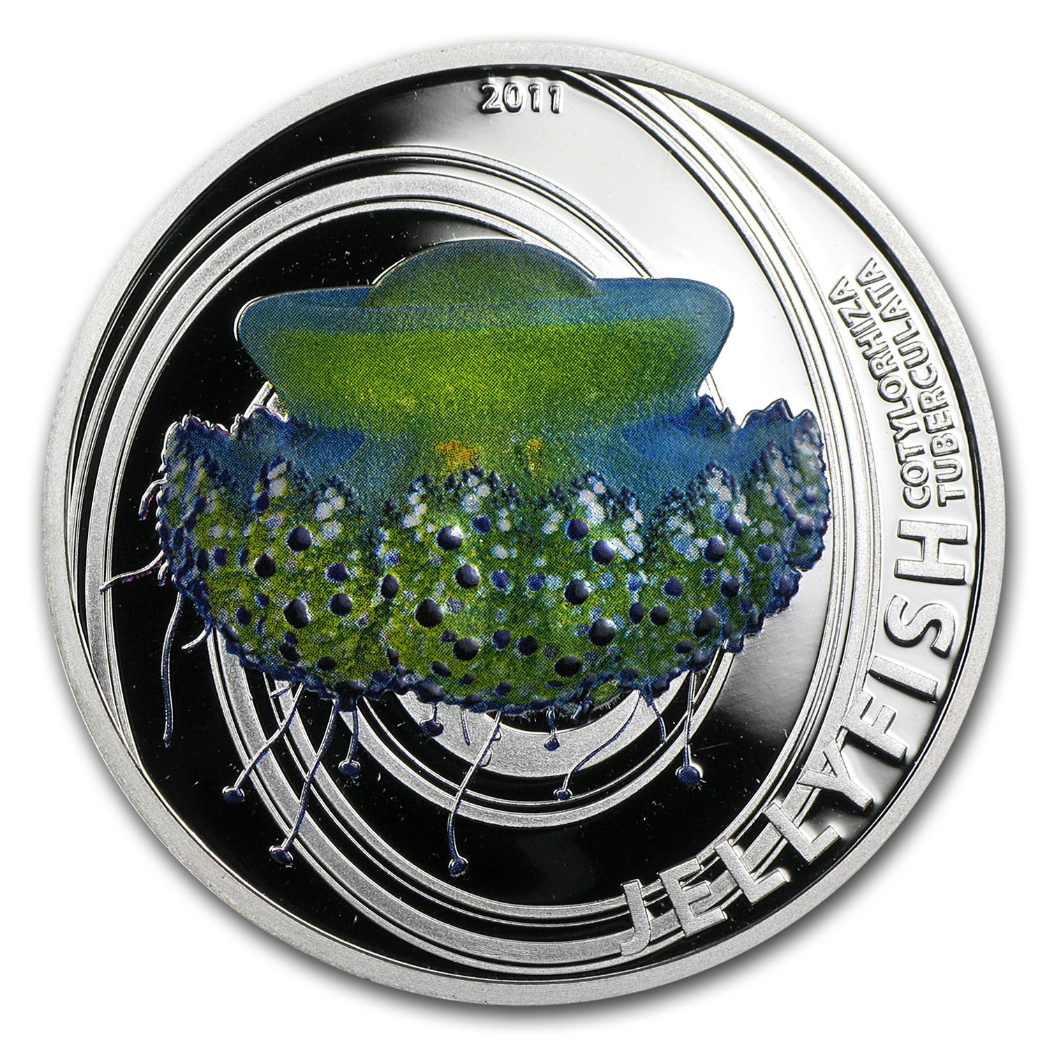 2011 Pitcairn Islands Silver $2 Jellyfish Cotylorhiza Tubercula