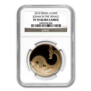 2010 Israel Jonah in the Whale 1/2 oz Gold Coin PF-70 UCAM NGC