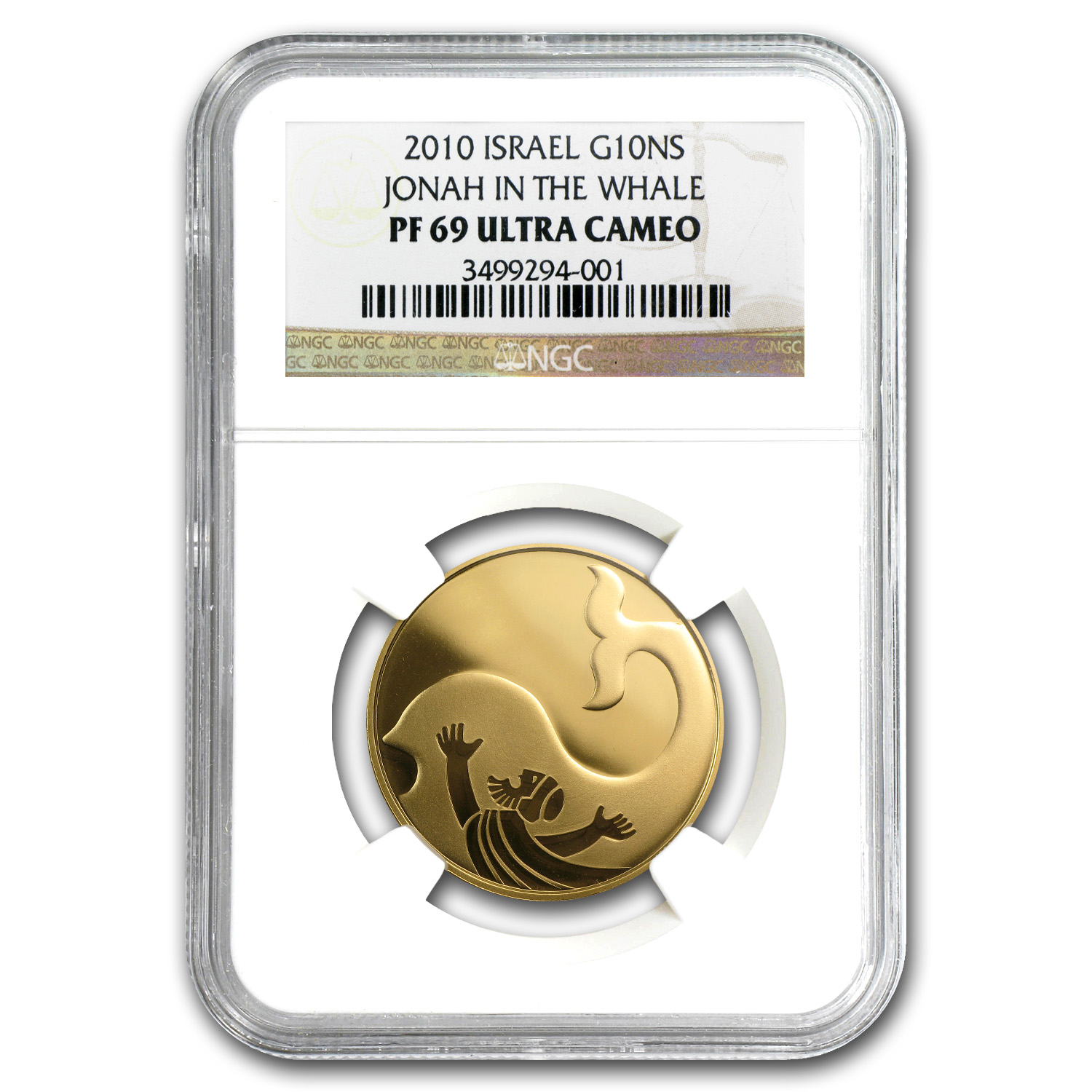 2010 Israel 1/2 oz Proof Gold Jonah in the Whale PF-69 NGC