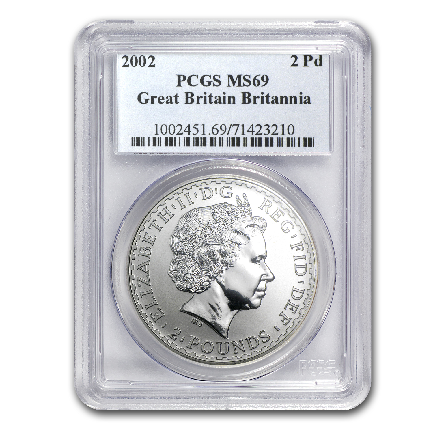 2002 Great Britain 1 oz Silver Britannia MS-69 PCGS