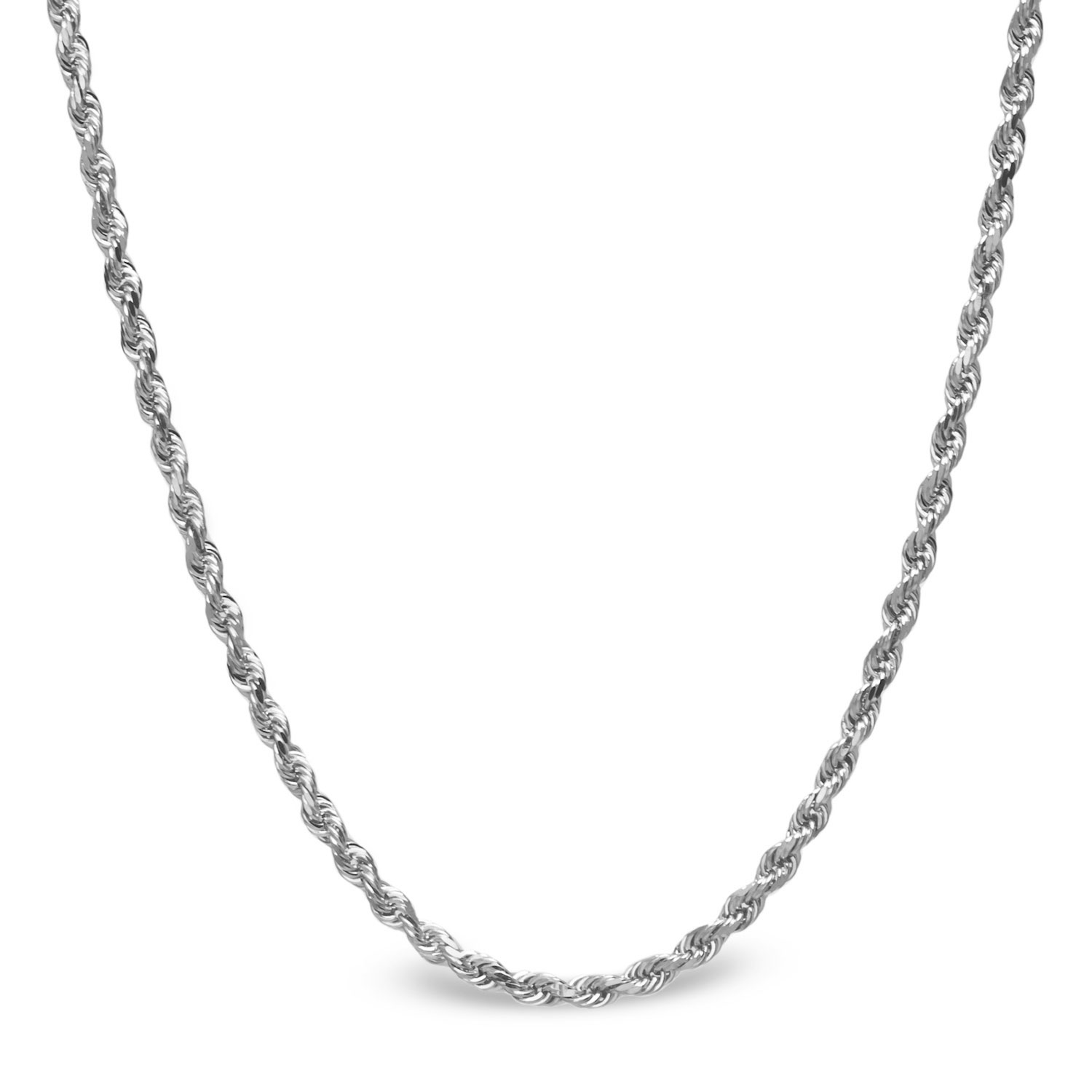 Diamond Cut Rope 14k White Gold Necklace - 30 in.